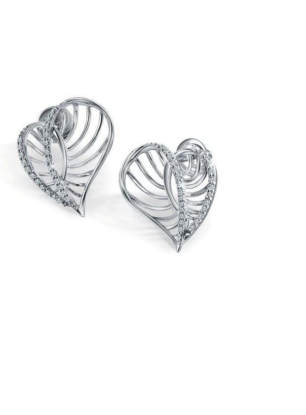 Heart Shaped Platinum Earrings