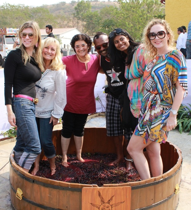 Guests grape stomping at the SulaFest 2013
