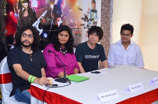 Press Meet and Launch of India's first Roland School of Music Japan at Happy Hours with Rupam Islam, Mrs. Jyoti Bansal, Shigeru Kimoto and Rauank Agarwal (from Left to Right) - 1