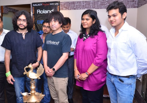 Press Meet and Launch of India's first Roland School of Music Japan at Happy Hours with Rupam Islam, Shigeru Kimoto, Mrs. Jyoti Bansal,  and Rauank Agarwal (from Left to Right) - 2