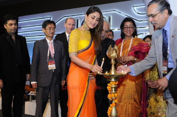 SOUBOYY - Bebo looks super-sweet in an Indian saree, with Karan Johar as they open FICCI Frames in Mumbai today