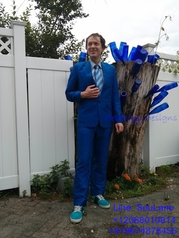 SouBoyy Designs - Blue Suit - Pure Raw Silk - Geneva, Switzerland