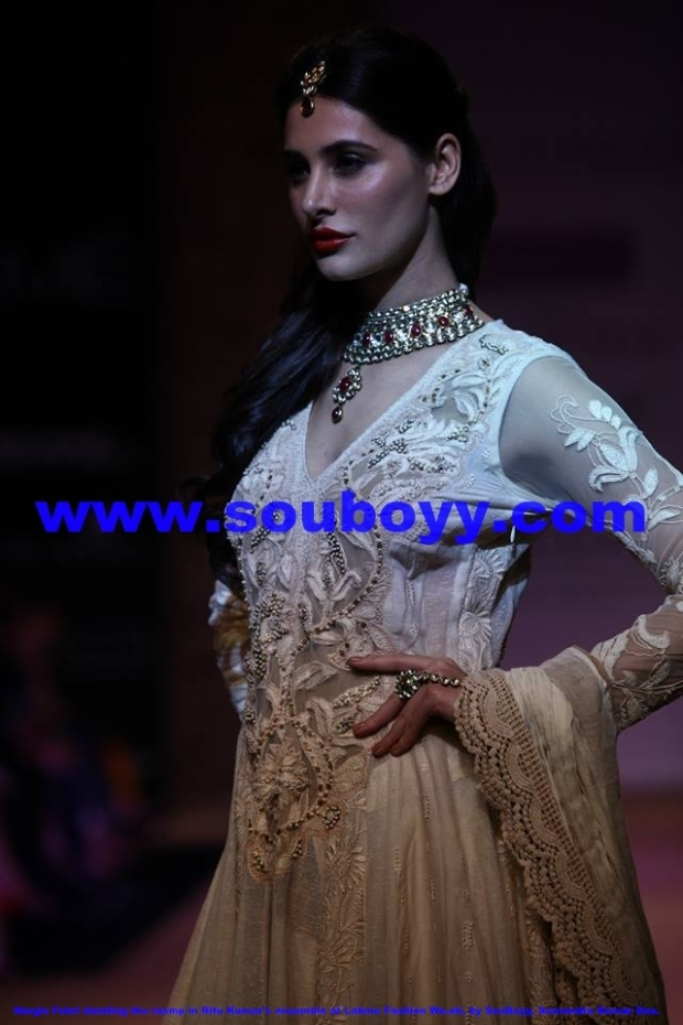 Dazzling Nargis Fakri in Ritu Kumar's ensemble at Lakme Fashion Week at Grand Hyatt Mumbai, by SouBoyy, Sourendra Kumar Das
