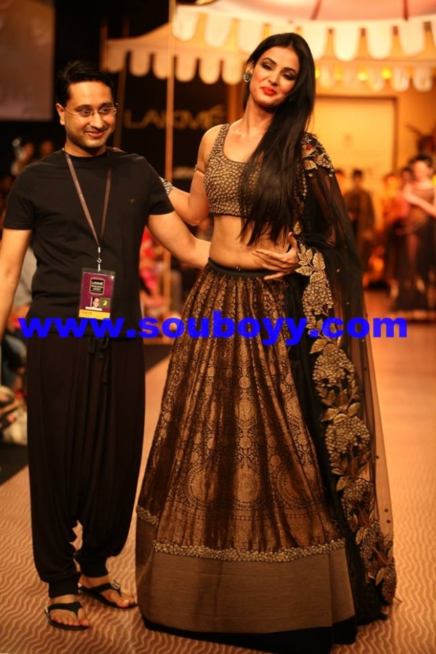 Shantanu Goenka's KRUHUN at Lakme Fashion Week, Winter Festive - Day 2 by Sou Boyy, Sourendra Kumar Das - Shantanu with show-stopper at Grand Hyatt Mumbai