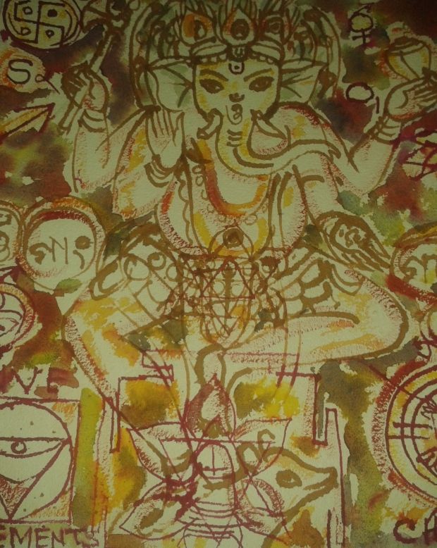 Aakar Paintings - Ganpati on Cloth