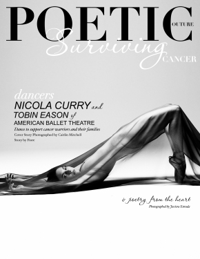 """Poetic Couture Magazine's creative visionary and philanthropic ambassador Fiore brings us a heroic, emotionally palliative, and visually sensational creative story that unites written and visual poetry to depict a warrior's emotional and physical battle with cancer. Fiore fuses photography and poetry as well as the art of color and dance for a unique editorial to promote change in this piece titled """"The Seasons of Cancer"""". Please visit our website at www.poetic-couture.com to send a message to these hero's or to donate to a worthy cause to show your support. Highly respected Bruce Levin produced and creatively directed this masterpiece in NYC, NY alongside his photographic team lead by rising star Caitlin Mitchell.  The stills were designed and posted by Fiore and Powerhouse Media. Guest to the set was dancer and cancer survivor Catherine Musinsky. A special thank you to our amazing dancers Nicola Curry and Tobin Eason, and the incredible team that made this shoot possible. We are forever grateful for your incredible talent and depiction of this very important story."""