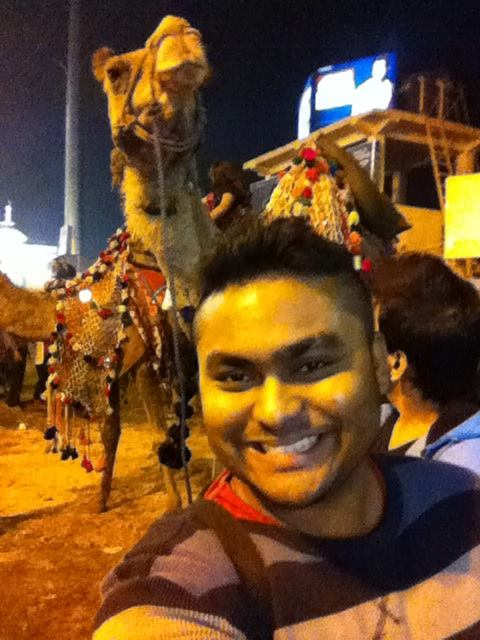 SouBoyy takes a selfie with the camel at Lok Sanskriti Rajasthani Mela