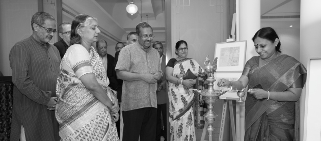 SouBoyy Images - Naveen Kishore, Founder & Managing Trustee - The Seagull Foundation for the Arts, Uma Padmanabhan, daughter of artist KG Subramanyan, HE TP Seetharam, Ambassador of India to the UAE. Lamp being lit by Rajya Sabha member Dr. TN Seema