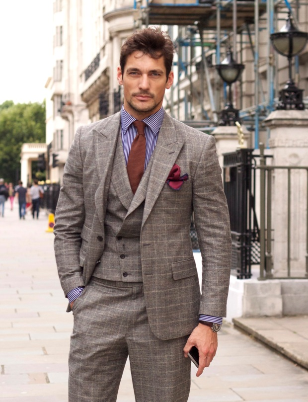 RF - This is a glorious suit and probably the best wedding suit on this list - milled finish windowpane with a double breasted waistcoat
