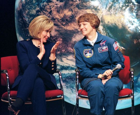 Hillary with astronaut Eileen Collins